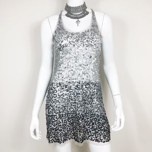 E1-3: Arden B silver sheer sequin dress medium